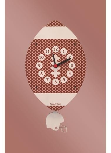 Peoples Clock Amerikan Futbolu Sallanan Sarkaçlı Çocuk Odası Duvar Saati Renkli